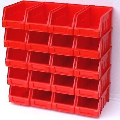 5 x Ergo XL Red box Plastic Parts Storage Stacking Picking Bins 204x340x155