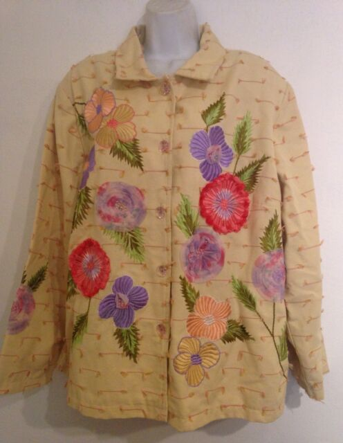 Alex Kim Womens Plus Size 1X Yellow Floral Blazer Coat