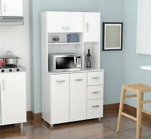 Attrayant Image Is Loading White Microwave Cart Kitchen  Cabinet Cupboard Storage Hutch