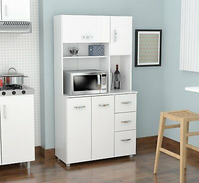 White Microwave Cart Kitchen Cabinet Cupboard Storage Hutch Pantry Drawers  New | eBay