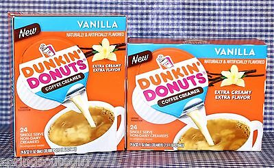 2 BOXES = 48 ct Dunkin Donuts VANILLA Coffee Creamer Extra Creamy Single-Serve