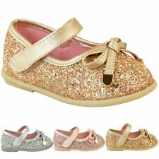 5f16361a5b4 Girls Kids Shoes Childrens Flat Pumps Glitter Party Bow Mary Jane Sandals  Size
