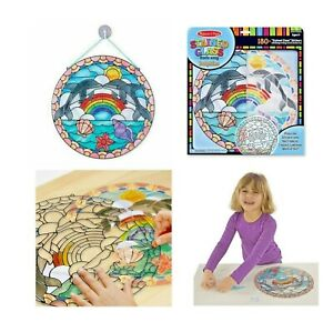 Melissa-amp-Doug-Stained-Glass-made-Easy-Dolphin-amp-Rainbow-Kids-Art-amp-Craft-Set