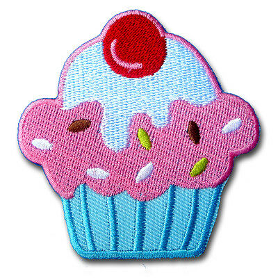 Pink Cupcake with Cherry Applique Patch Iron on