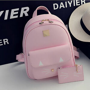 Fashion korean girl leather cute cat school bags backpack shoulder travel bag ebay Korean style fashion girl bag