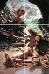 12 x 18 Art Edward Poynter Mural Ceramic Tiles Bath Backsplash Nymphs Tile #488