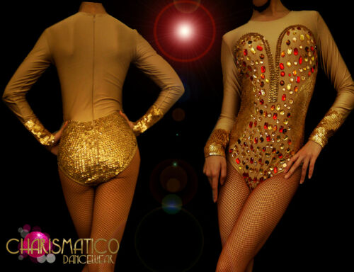 "Nude illusion dance Showgirl leotard with gold sequin ""corset"" and /""cuffs/"""