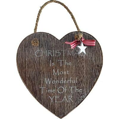 Christmas Most Wonderful Time .. Shabby Chic Heart Wooden Wall Hanging Decoratio