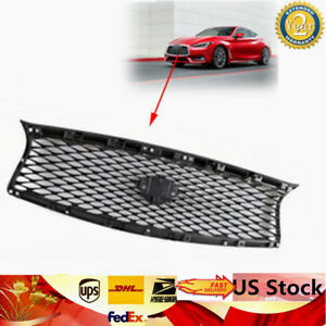 Black-Painted-Glossy-Front-Mesh-Upper-Grill-Grille-fits-for-14-17-Infiniti-Q50