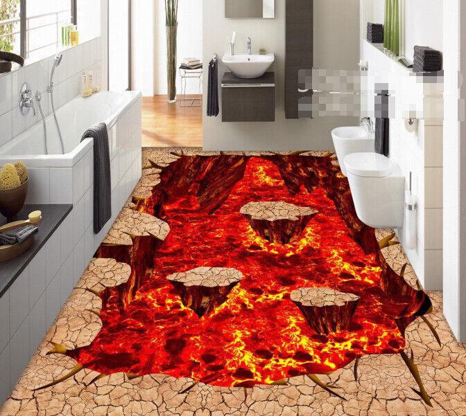 3D rojo llama Piedras Papel Pintado Mural Parojo Impresión de suelo 6 5D AJ Wallpaper Reino Unido Limón