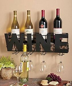 Details About Metal Wall Mounted Wine Rack Glass Holder Cork Storage Decorative