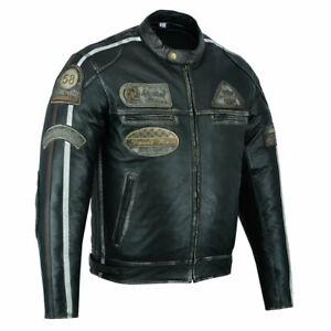 Herren Motorrad Lederjacke Biker Chopper Rocker Jacke mit Protektoren