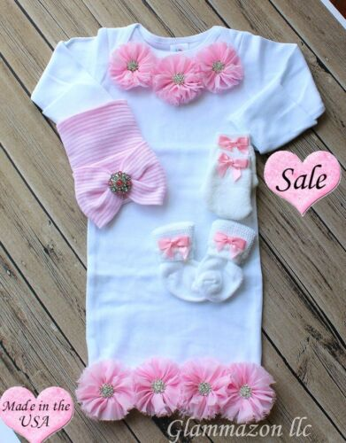 Newborn Baby Girl Gown Comfy Bowknot Hospital Cap Beanie Hat & Socks and Mittens