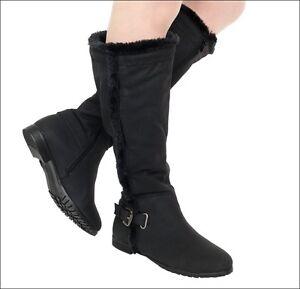 damen stiefel langschaft schnallen winter stiefel winterschuhe d16 schwarz ebay. Black Bedroom Furniture Sets. Home Design Ideas