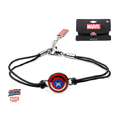 Authentic Marvel Women's Captain America Shield Logo Black Leather Cord Bracelet