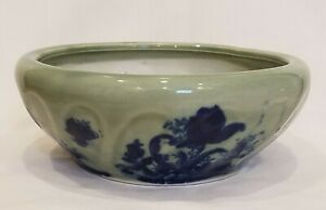 Vintage AAA Imports Planter Round Bowl Green Flow Blue Style Floral