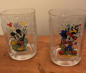 McDonalds Walt Disney World Year 2000 Celebration Glasses Pair Of Mickey Mouse
