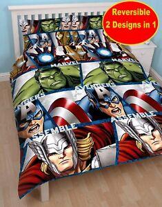 Avengers escudo doble Edredón reversible Marvel Thor Hulk Iron Man