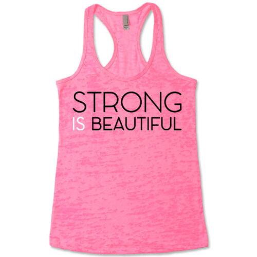Cute Running Top Strong Is Beautiful Burnout Racerback Workout Tank