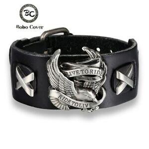 Leder-Armband-Armreif-Biker-Chopper-Bracelet-Men-Harley-Eagle-Live-to-Ride