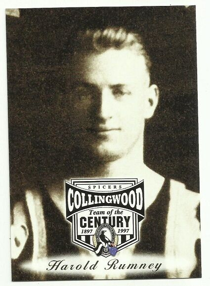 AFL 1997 COLLINGWOOD #48 HAROLD RUMNEY SPICERS TEAM OF THE CENTURY CARD