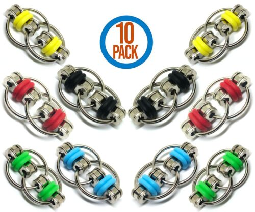 10 Pack Fidget Toy Flippy Chain Stress Relief Perfect for ADHD Anxiety Kid Adult