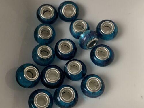 European Beads Bleu großloch perle verre lampwork 10x14 mm 15 Pièce m16