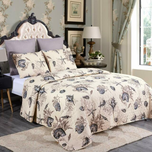 Quilt Set 3 Piece With Pillow Shams Printed All Season Bedspread Coverlets Q/K