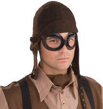 Steampunk Flieger Kappe mit Brille NEU - Karneval Fasching Hut Mütze Kopfbedecku