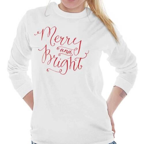 Merry Bright Cute Christmas ShirtHoliday Gift Santa Claus Long Sleeve T Shirt
