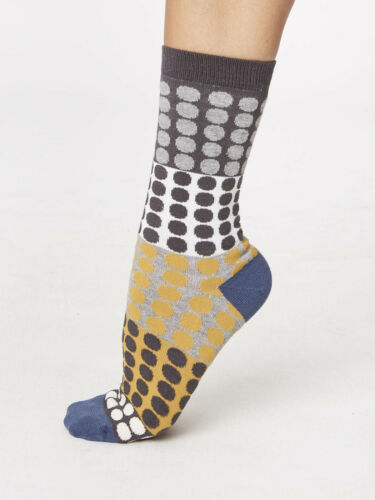 Thought Bamboo Yellow Blue Brown Spot Socks Sustainable Anti-Bacterial Size 4-7