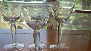 Etched Cordial Glasses Floral design Bulbous stem 4 4 ounce elegant glasses