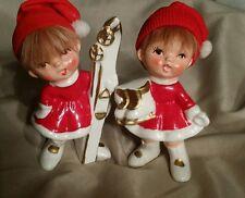 "PAIR OF VINTAGE 4"" JAPAN NAPCO WARE CHRISTMAS GIRL SKIERS FIGURINES KNIT CAPS"