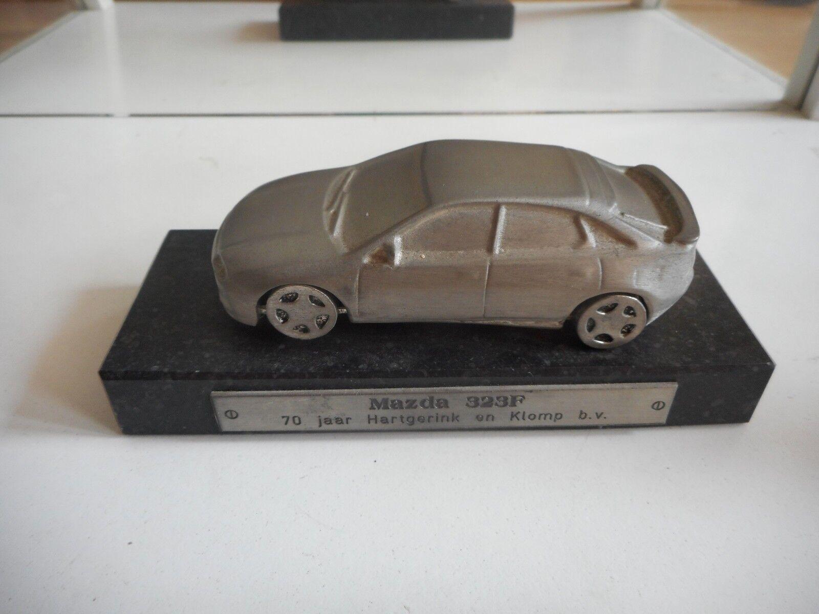 Mazda Dealer Gift statue metal Mazda 323F on stone base