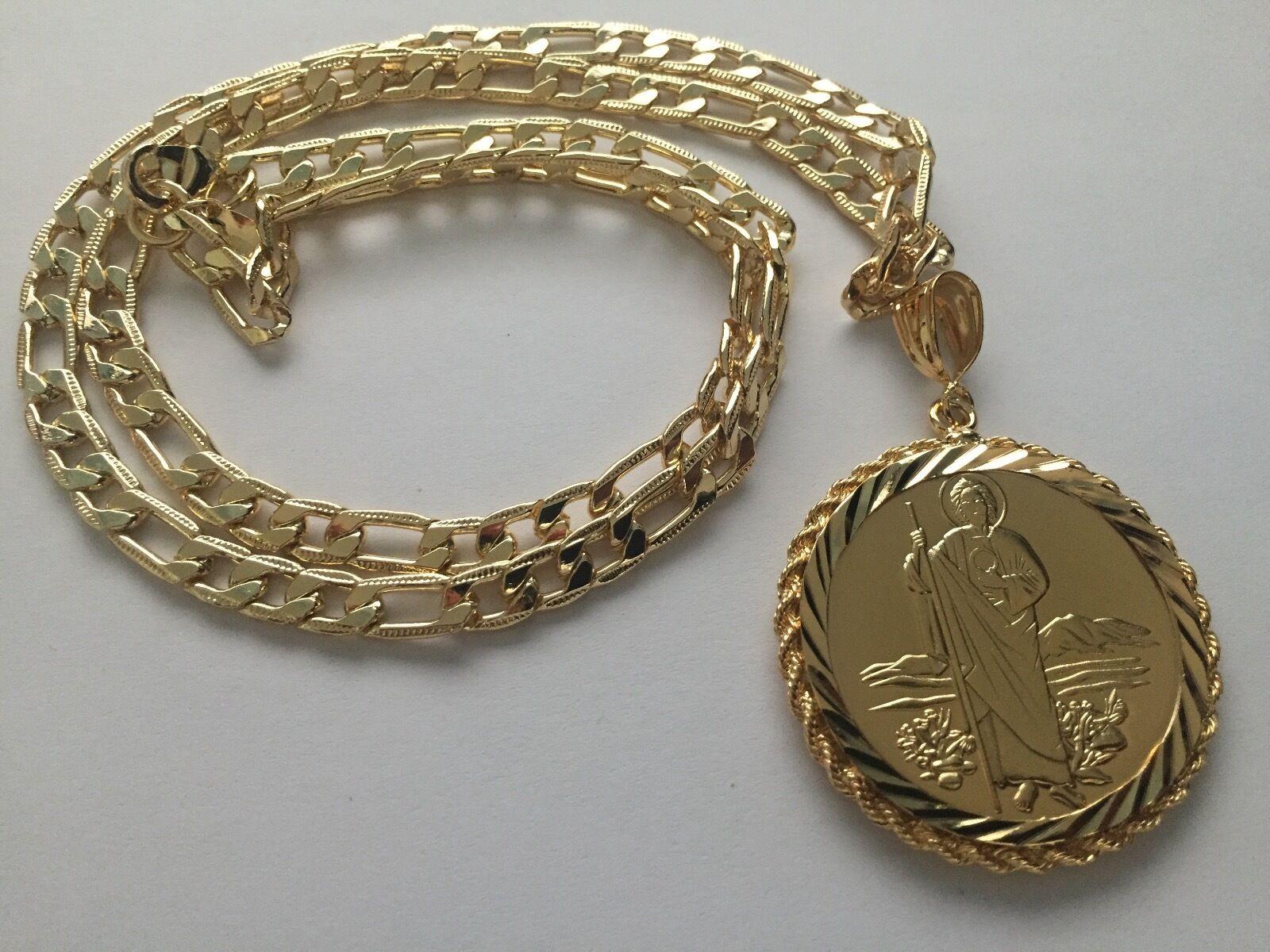 San Judas y Virgen de Guadalupe Centenario gold Laminado Cadena Sinaloense Tadeo