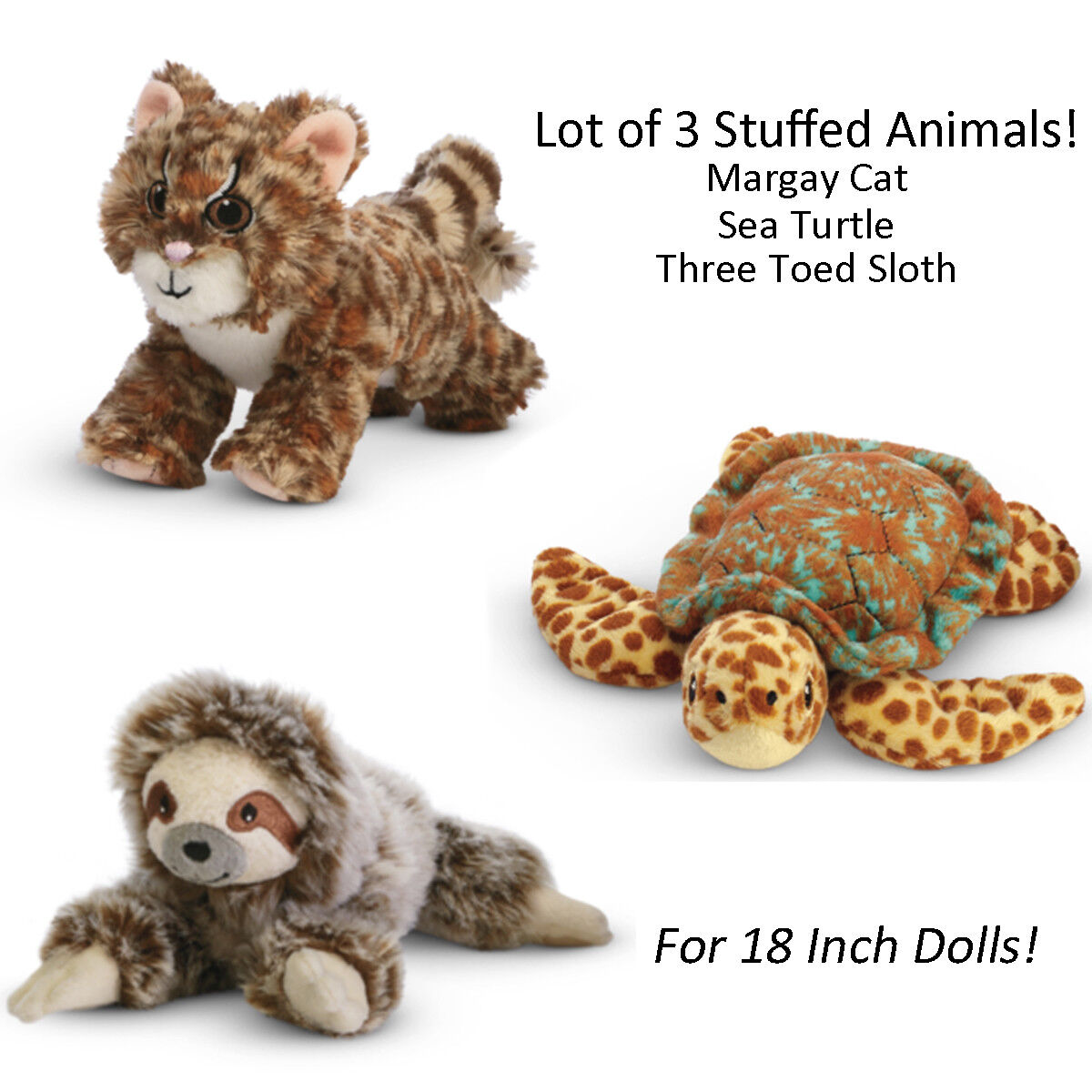 American Girl Le Lea Lot Of 3 Margay Katze Sea Turtle Drei Zeh Sloth für Puppen
