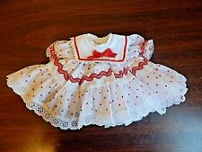 """New Red & White Dotted Swiss Cotton Baby Doll Smock Dress w/Bloomers, Sz 12-15"""""""