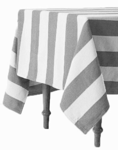 "Hamptons Charcoal Grey Stripe Tablecloth Cloth 150x230cm 91x60/"" Quality Cotton"