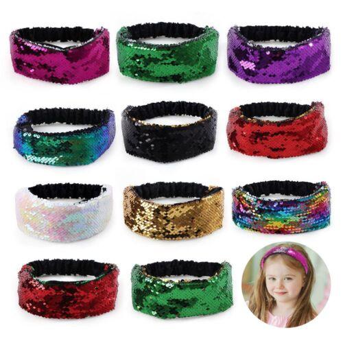 Frauen Mädchen elastische Reversible Pailletten Haarband Party Zubehör Glitter.