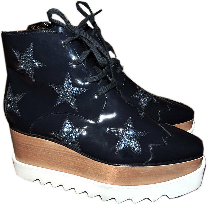 1290 Stella McCartney Stars Boots Elyse Navy Platform Ankle Booties shoes 40