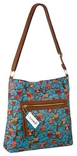 Womens Oil Cloth Owl Print Cross Body Messenger Shoulder Handbag Purse Bag