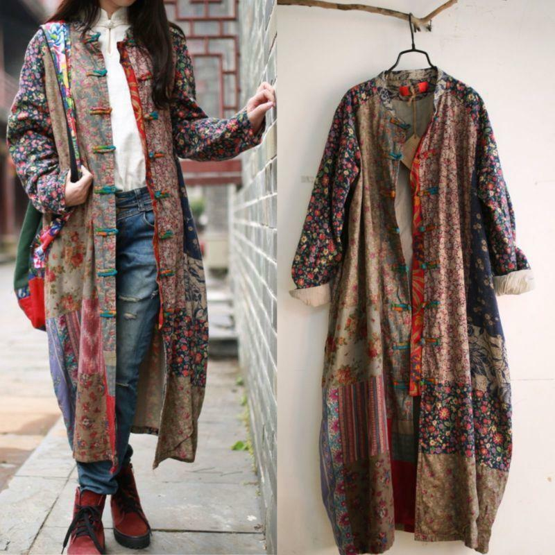 Women Maxi Long Outwear Dress 100% Cotton Linen Floral Loose Retro Button Coat