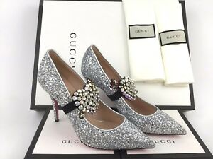 a6c563a33ff2 Image is loading GUCCI-Virginia-Crystal-Embellished-Silver-Glitter -Pointy-Toe-