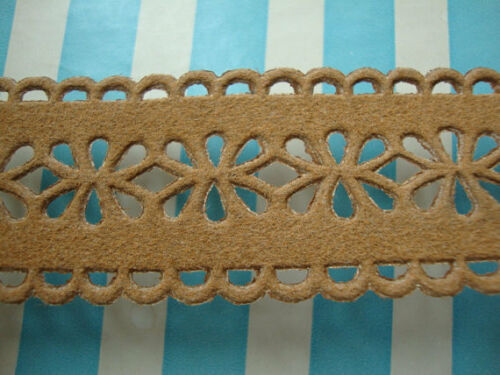 """4 Yards of 1.25/"""" Wide Faux Suede Tan Beige Trim Eyelet Lace Southwestern Cowgirl"""