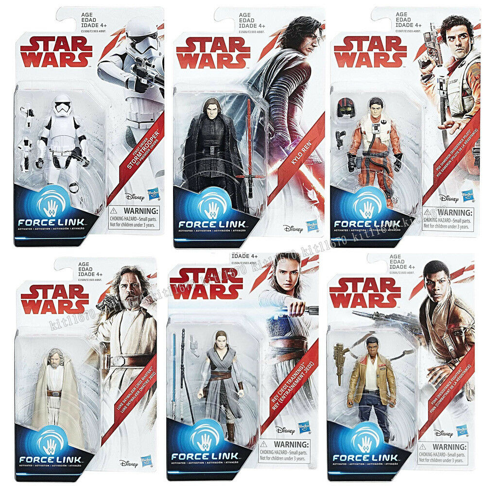 100% Hasbro Star Wars Force Link 3.75  figura último Jedi Luke Kylo Rey Conjunto de 6