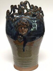"""Blue Drip Glaze Ornate Face Pottery Planter 9"""""""