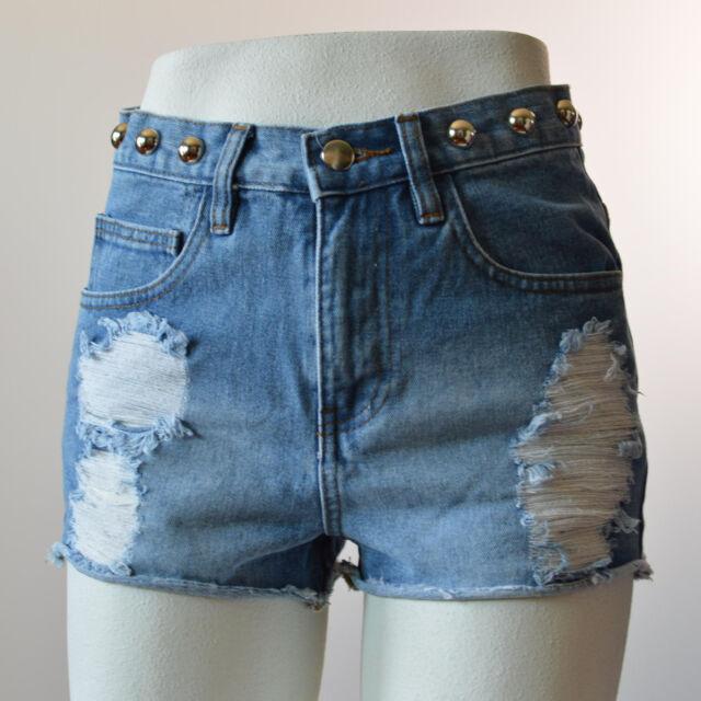 Forever 21 Women Flirty Shorts Studded Denim  Destroyed Ripped Distressed Sz 25