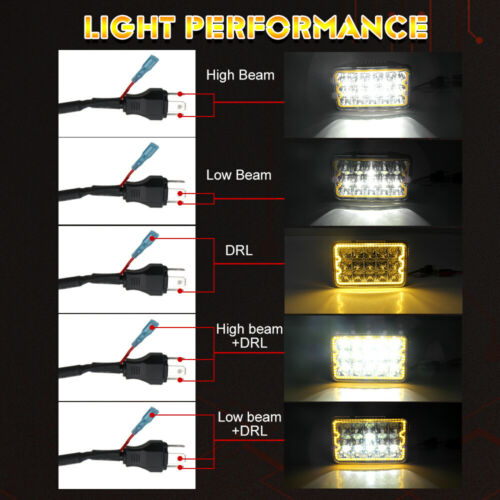 """2x 4x6/"""" LED Headlights with Amber Turn For Chevrolet S10 1997 1996 1995 R10 1987"""
