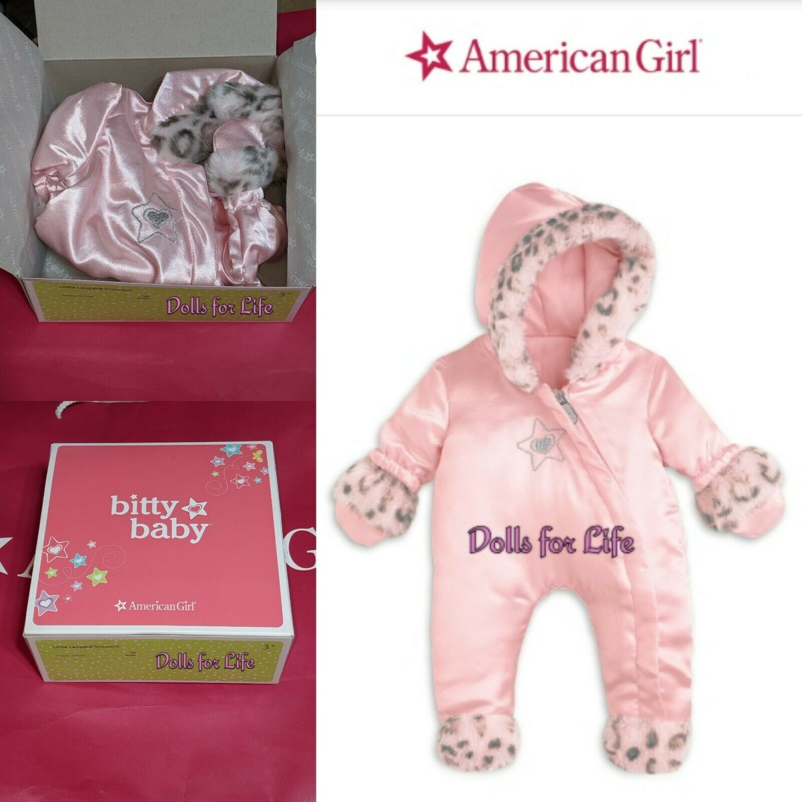 American Girl Bitty Baby Twin Doll 2014 Satin Little Leopard Pink Snow Suit