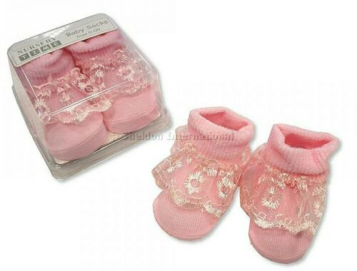 Gorgeous Baby Girls Pink Romany Lace Socks by Nursery Time Prem-NB Gift Box
